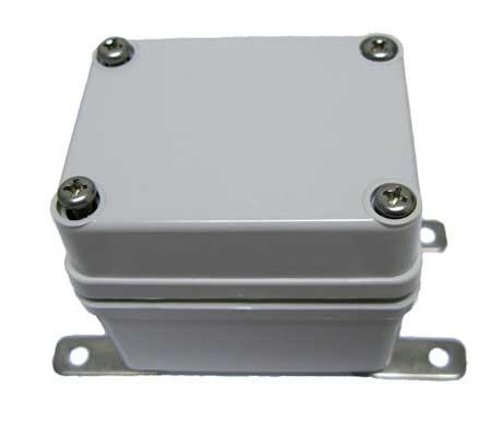 Small enclosure shown with mounting feet attached (included)